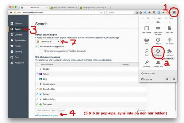 Sökmotor sekretess: Duck Duck Go eller Starpage som default sökmotor i Firefox