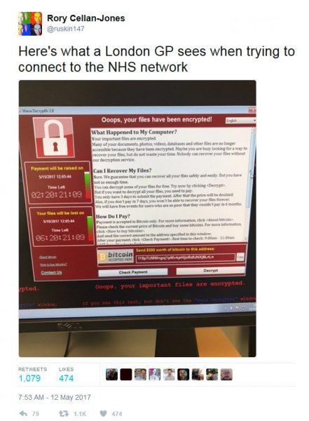 Ransomware WannaCry på en NHS dator